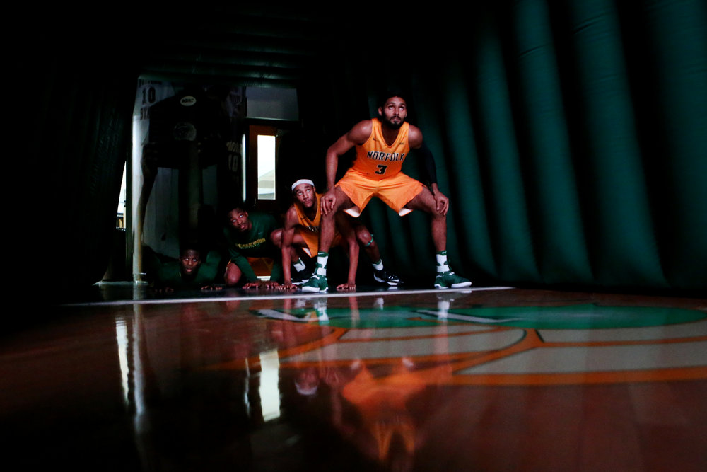 The Norfolk State University men's basketball team waits in the tunnel to be introduced prior to the start of their home opener against Shenandoah, Sunday, Nov. 13, 2016 at Echols Hall in Norfolk.