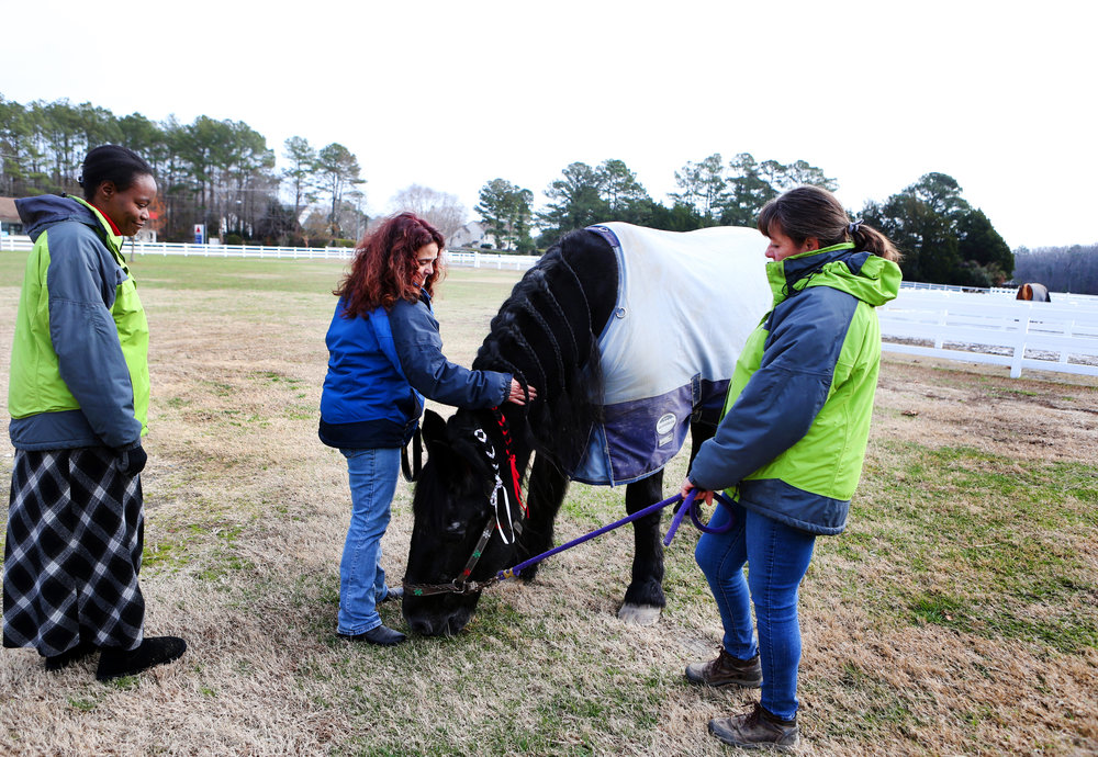 "EquiKids staff members Candyce Boykin, left, Karen Barbour, right, and volunteer Roni DeCrescentis spend time with ""Sadie"" outside of the barn one final time, Tuesday, Dec. 20, 2016 in Virginia Beach."