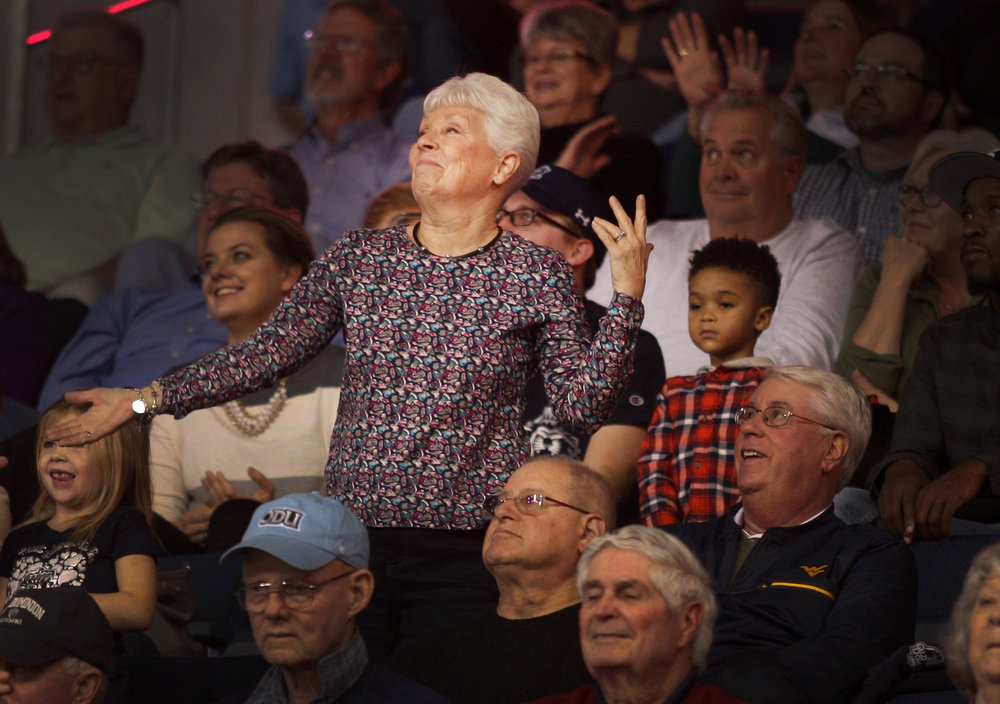 ODU superfan Gail Shumate dances to 'Ice cream and cake' during a Monarchs game, Saturday, Jan. 12, 2017 at the Constant Center in Norfolk.