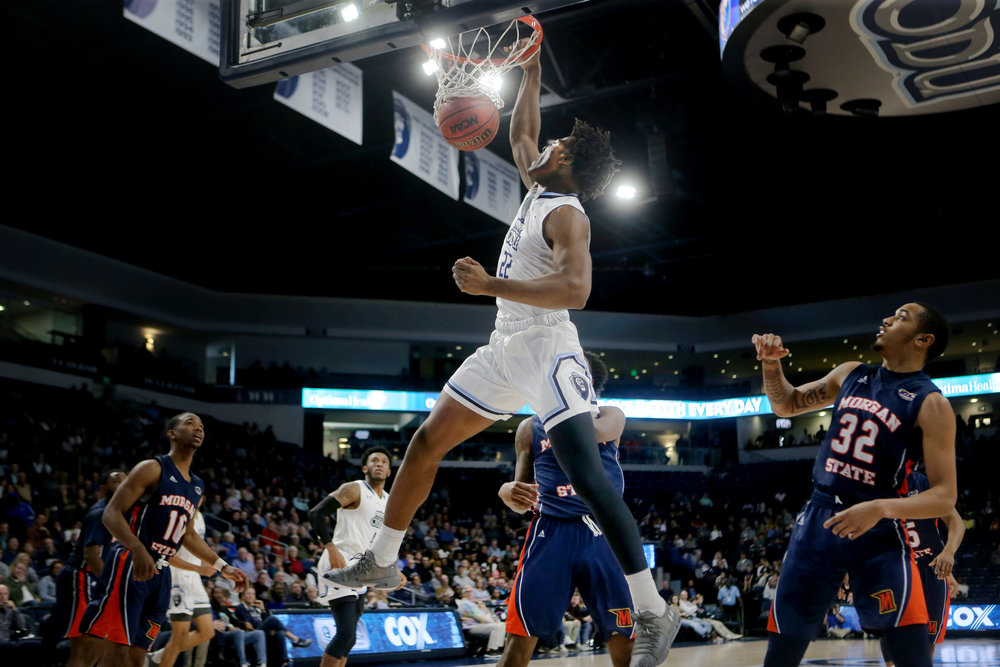 Old Dominion's Kalu Ezikpe dunks during the Monarchs' 76-53 win over Morgan State, Saturday, December 22, 2018 at the Ted Constant Center in Norfolk.