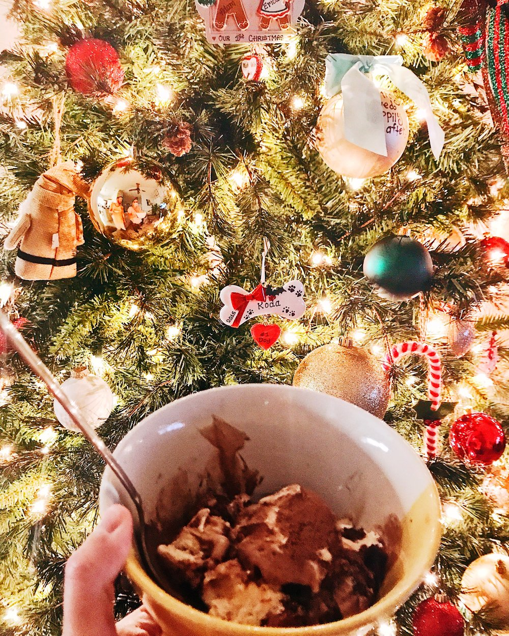 "Here I am, clutching a bowl of ""S'mores"" Ben & Jerry's ice cream, protesting the end of Christmas. #LittleSantaHasTurnedHisBackInDisapproval #LessFattio #MoreCardio #ItsHardio #MyNYResolutionIsToNotGiveAShitAboutNYResolutions #IDontBelieveInThemAnyway"