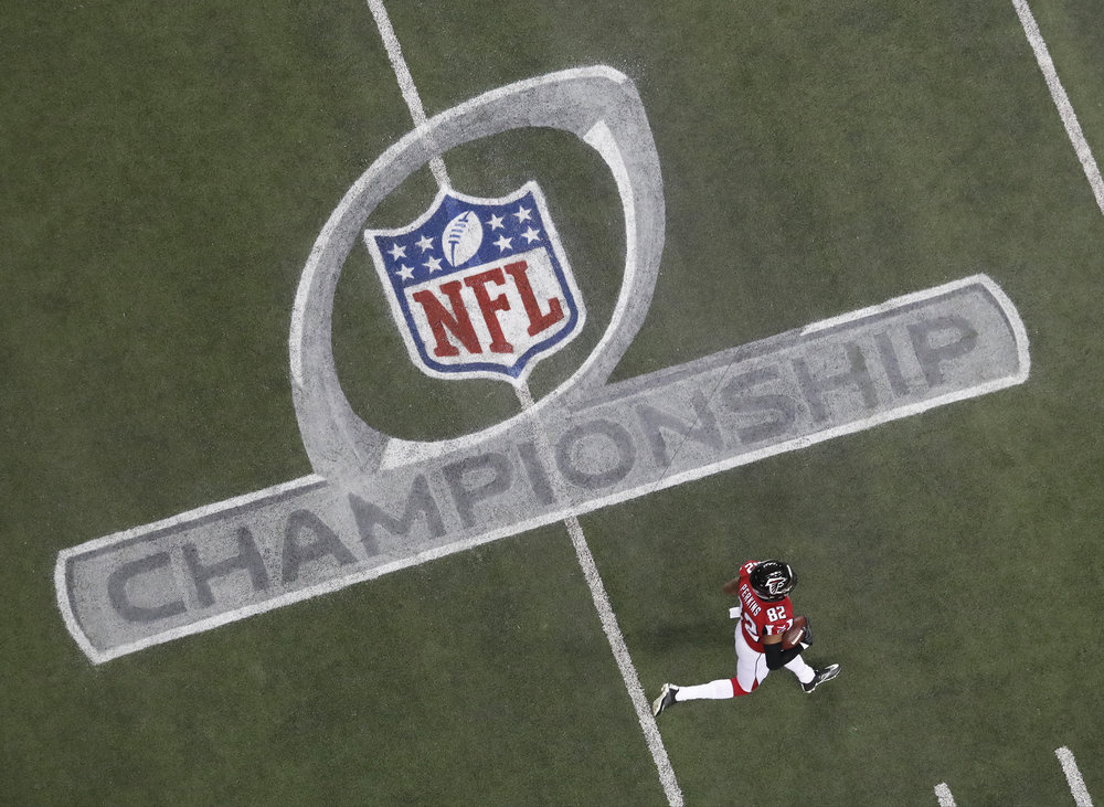 NFC Championship Poster - Commemorative poster and celebrating the NFC Championship game between the Atlanta Falcons and GreenBay Packers.