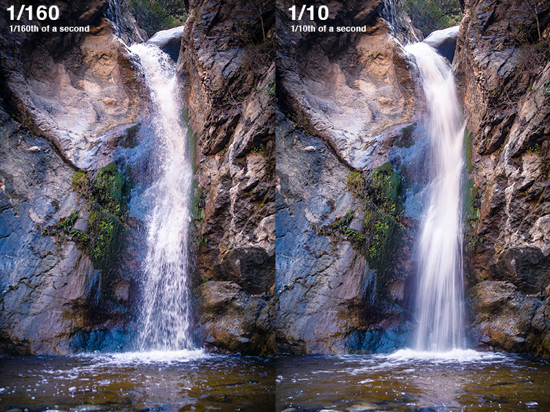 Two images I captured at Eaton Canyon Falls in the San Gabriel Mountains, one at 1/160 and the other at 1/10 of a second shutter speeds.