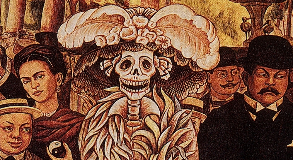 A detail from Dream of a Sunday Afternoon in the Alemeda Central (mural, 1947) by Diego Rivera. Rivera is pictured as a little boy on the bottom left, with his wife, Frida Kahlo, above him, holding a yin and yang symbol.