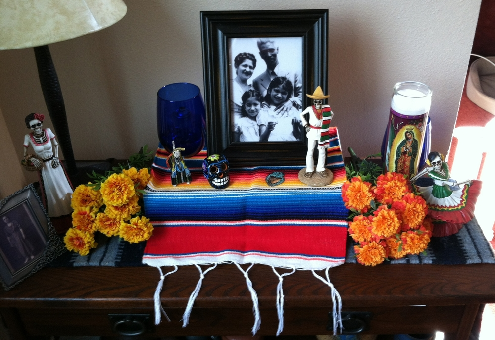 Photo by Netanel Miles-Yépez of the small ofrenda in the kitchen of his home, 2014.