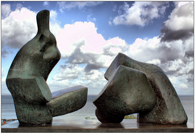 """Two Piece Reclining Figure 5"" by Henry Moore."