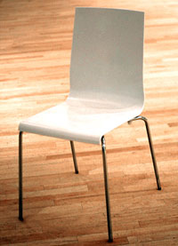 white acrylic reception chair