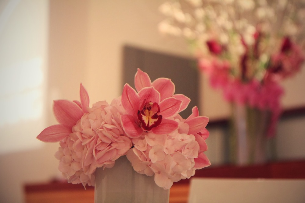 Pink flower table centerpiece
