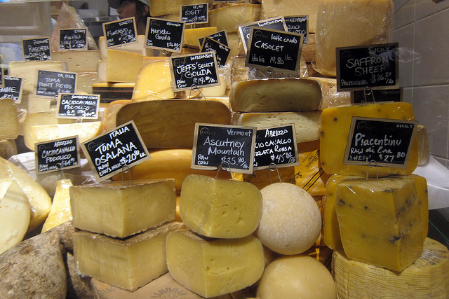 The enormous cheese collection at Mario Batali's Eataly. Photo courtesy of Flickr user wallyg.