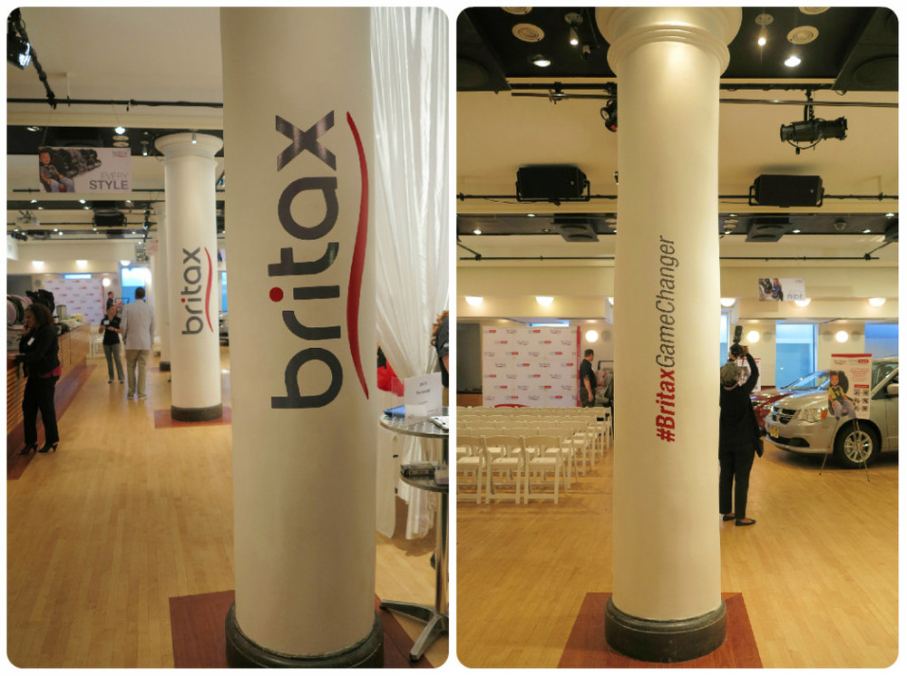 Britax Press Event at HELEN MILLS. Branding and Signage: Column clings