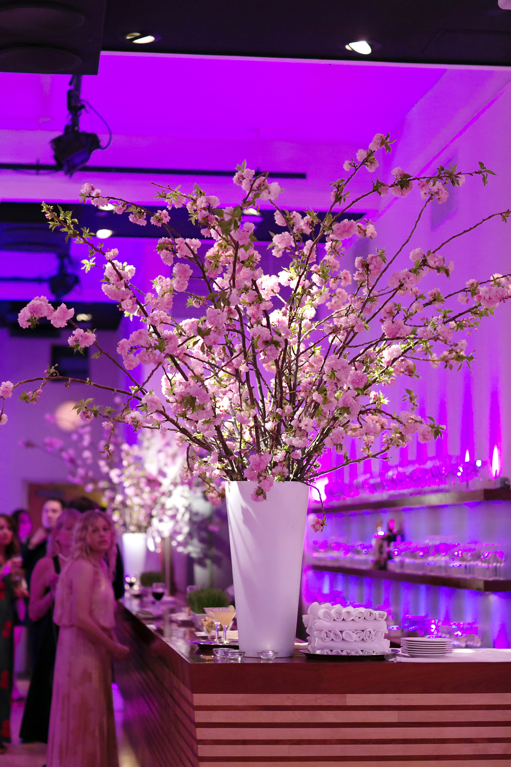 Flower decor as part of a bar mitzvah at HELEN MILLS Event Space and Theater