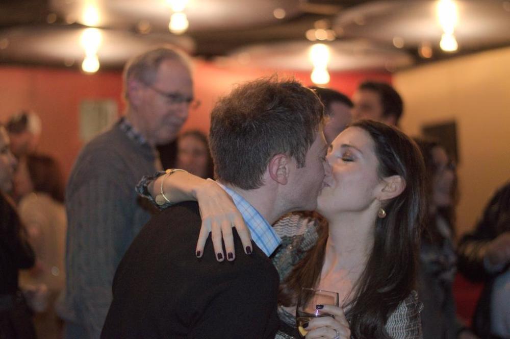 Damon and Lauran kissing