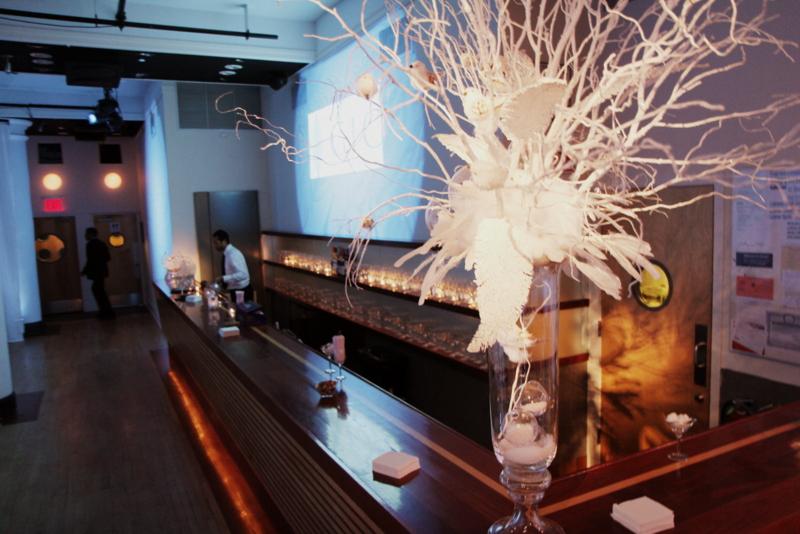 custom lighted decor at the bar
