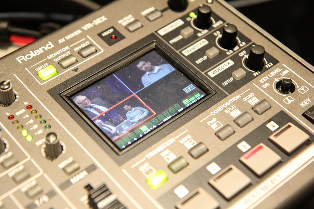The video mixer allowed for close-in and zoomed out shots of the hosts, creating an intimate environment for participants joining from all over the globe.