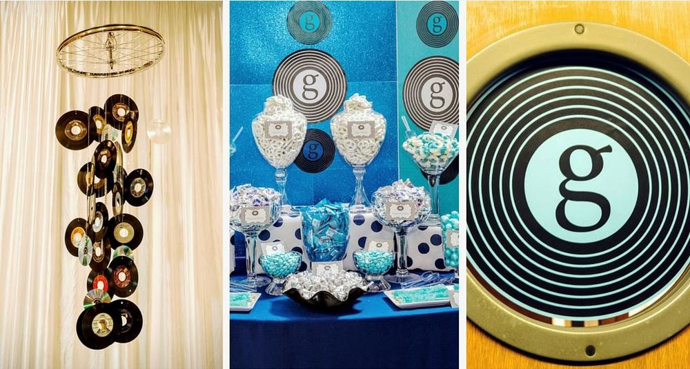 It's all in the details - from left to right - hanging mobile made of records, candy bar, and porthole signage. Photo by Art Photographers.
