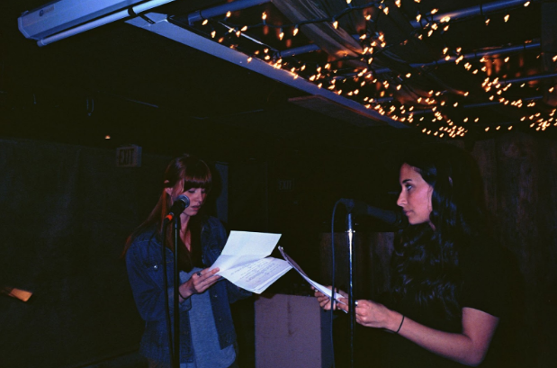 Brittany Kay and Brittany Rae Robinson reading Crystal Woods'    Nephew  at   Write On IV .  Photo by Tomasz Chwieszczenik
