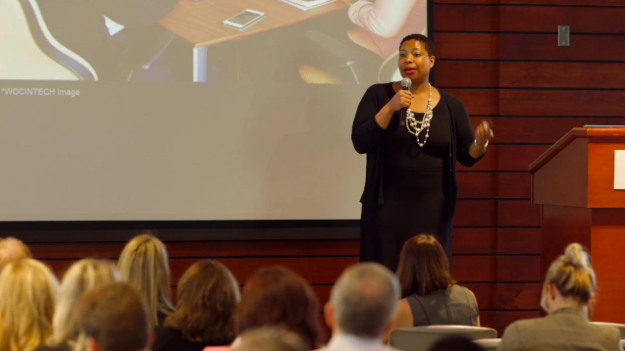 Regine Gilbert on stage at the Core Connect Conference in Little Rock, Arkansas