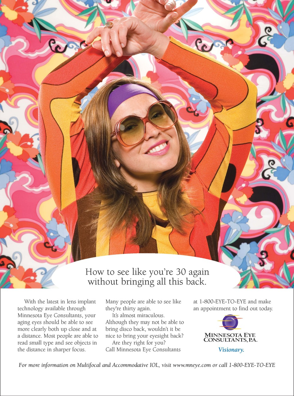 Magazine advertisement featuring a smiling woman dressed in 70's apparel.