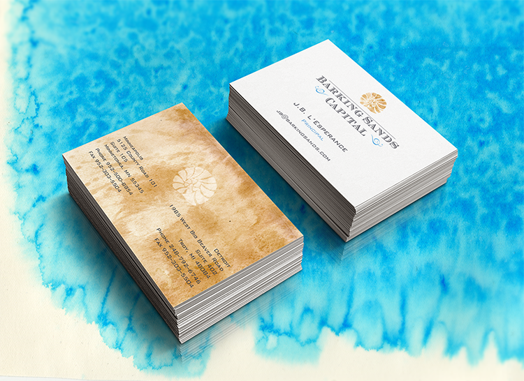 Business card design for Barking Sands. Graphic design created using watercolors. The beach is our inspiration.