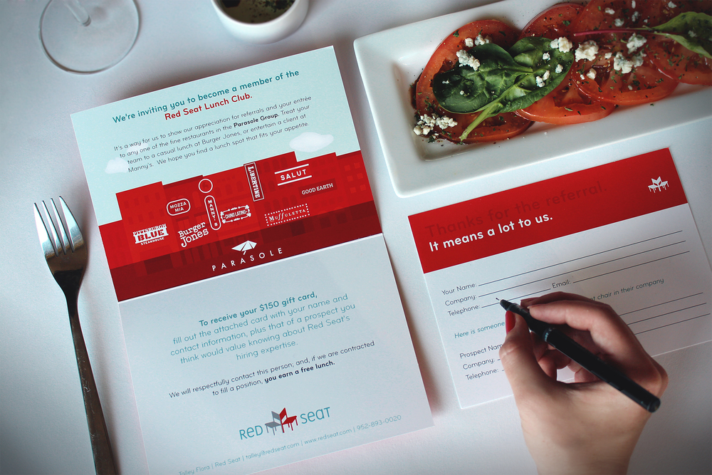 On brand referral card design for Red Seat.