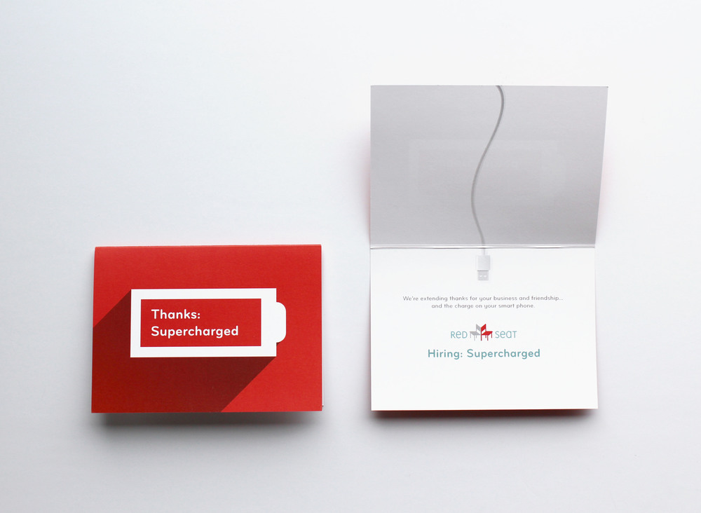 A brand oriented thank you card designed by Kazoo Branding for Red Seat.