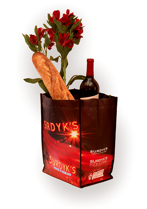 Sustainable bag design for Surdyk's, a small and local liquor store business. Design, photography and photoshop by Kazoo Branding.