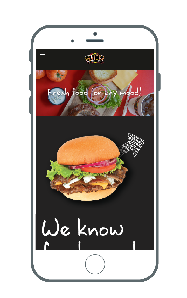 Mock-up of Slim's website on a cellphone, showing that the website is mobile friendly.