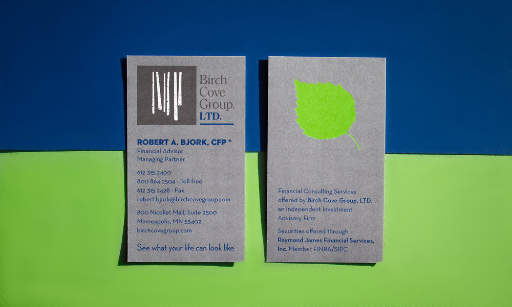 Image of Birch Cove Group's business card design.