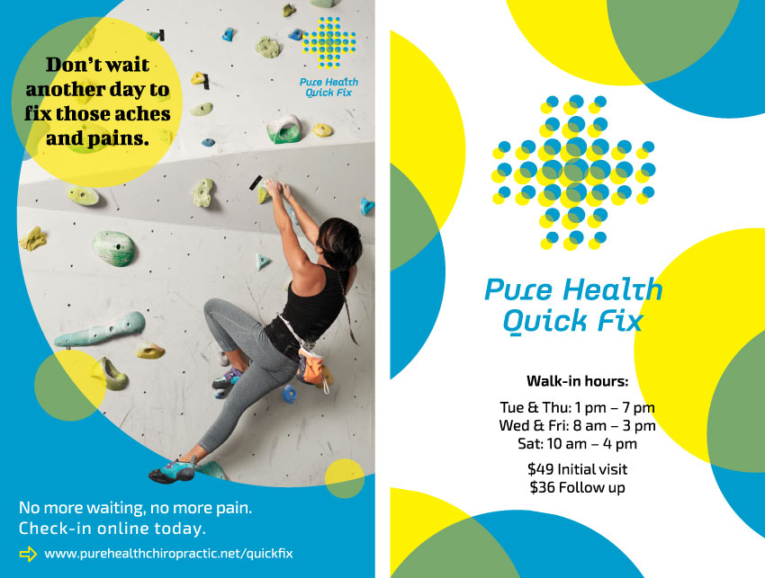 A flyer for Pure Health to hand out to customers who come into their office.