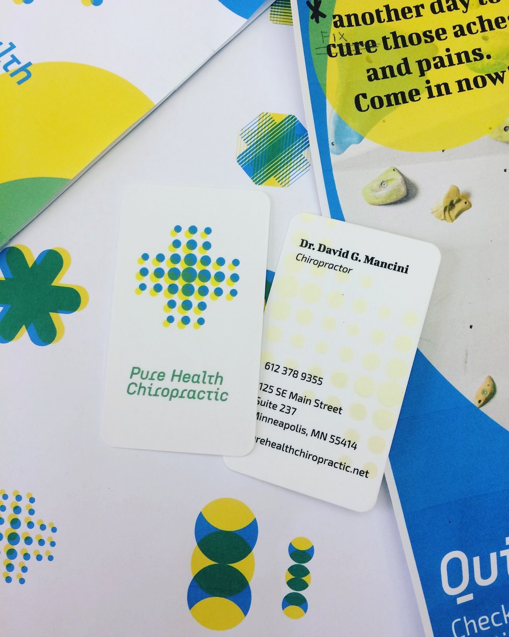 Business cards created for Pure Health Chiropractic, as well as a peek at some of our process work.