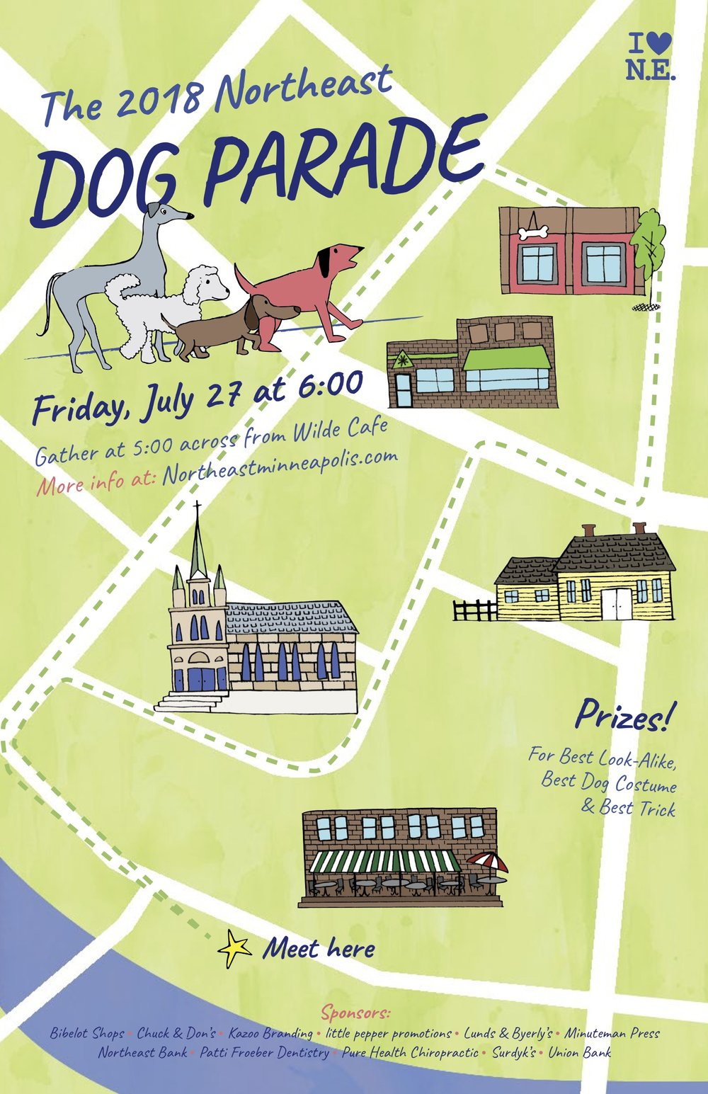 The final poster design for the 2018 Northeast Dog Parade hosted by The Heart of Northeast