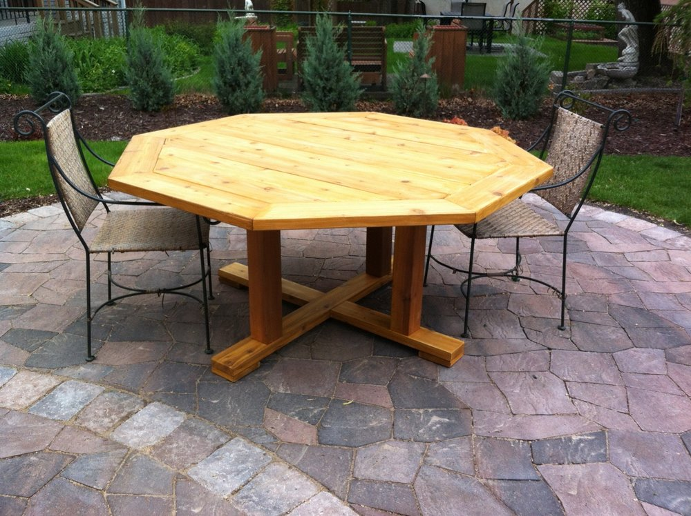 Octagon patio table.