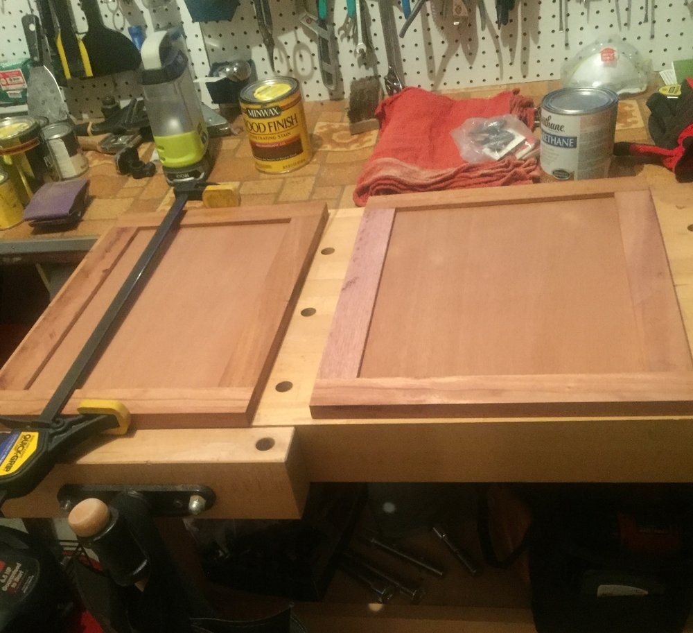 Building the doors for the sideboard table.