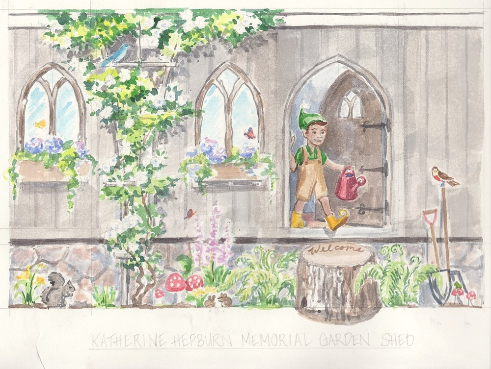 """This is the watercolor design sketch for the Katherine Hepburn Garden shed located in the """"Fairy Garden"""" meant for child visitors to the garden. After some deliberation we decided to replace the elf with a fawn. The inspiration for using a fawn was the story that I shared with the garden directors of my parents finding a sleeping newborn fawn at their doorstep in the spring of 2017. It turns out that it relates to the lovely garden statue of a stag in the front of the garden."""