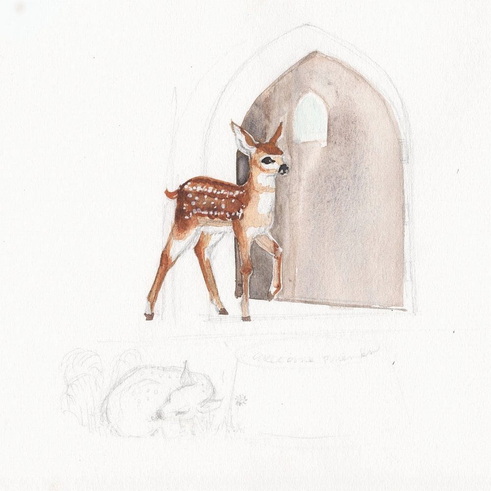Here is an additional sketch of the fawn, the new subject for the mural.
