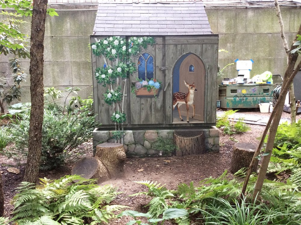 """Front view of the """"Fairy Garden"""" and mural."""