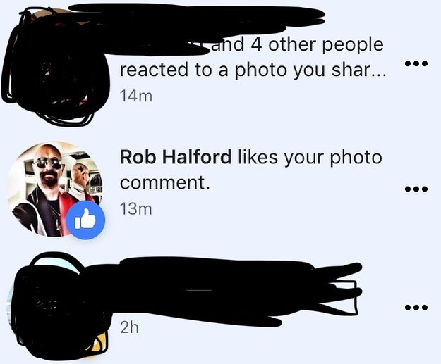 Dude. Rob Halford totally liked my photo comment on his post today 😲 I'm speechless. 🤟😝🤟 #robhalford #judaspriest #metalgod #hellbentforhalford #speechless