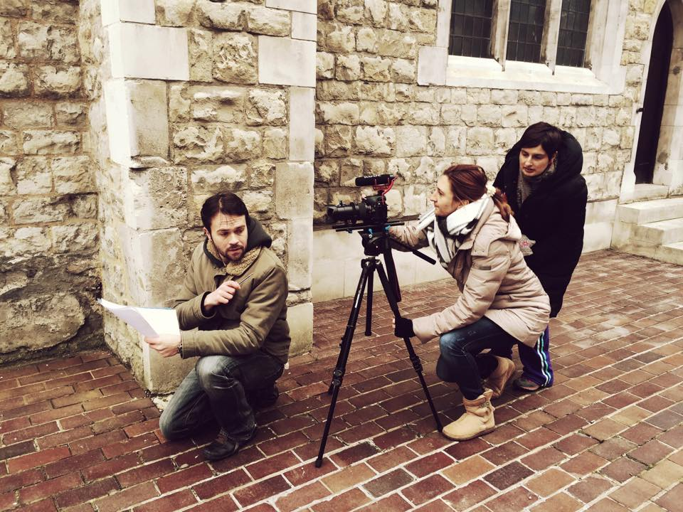 """Me doing some camera work - at the set of the short film """"It has started"""" with Let's Make a Scene group. Filming outdoors whatever the weather!"""