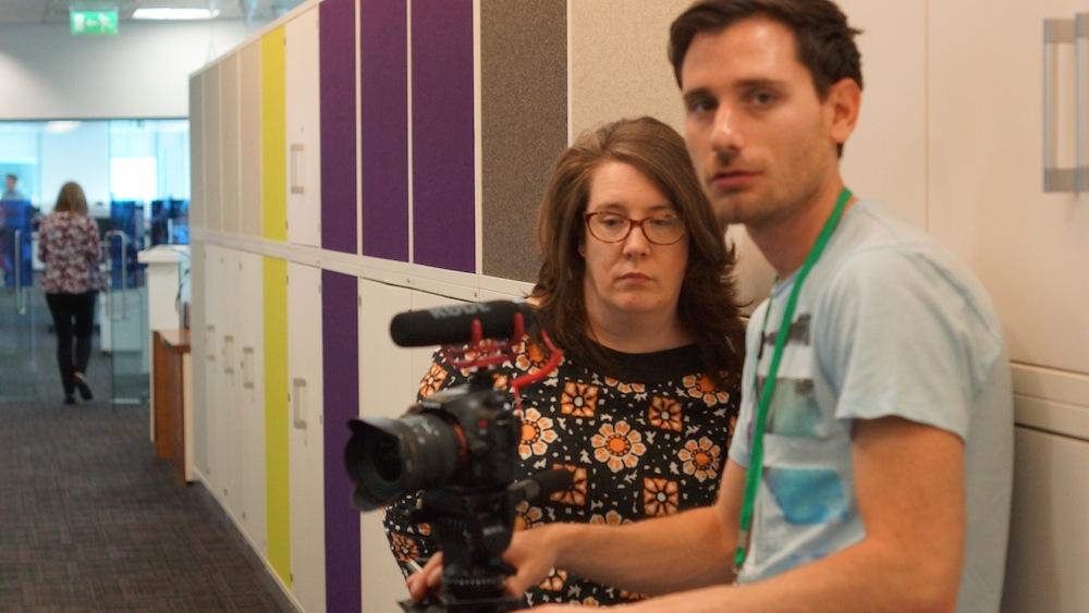 Valerio and Tricia preparing the shot