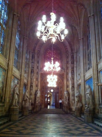 Inside one of the halls of the House of Commons
