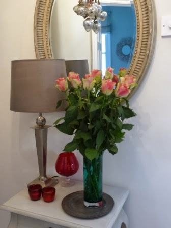 And I replaced it with a lamp and these stunning roses that a friend and neighbour kindly gave me on Friday. They have a real vintage look about them. Aren't they beautiful?