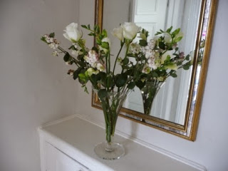 Vase 2 - I separated the white freesias and roses into this delicate glass vase