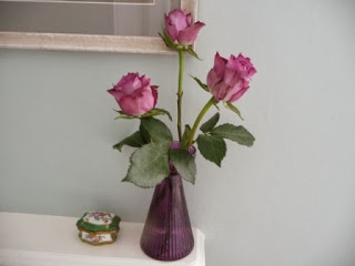 Vase 3 - these three stunning roses merited a vase of their own (it's actually a hyacinth bulb vase)