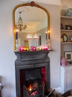 We lit the fire in the sitting-room and I made a candle feature on the mantelpiece which burned all evening creating a magical atmosphere