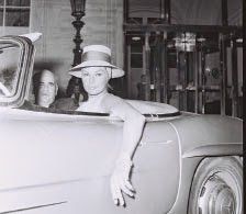 Anita Ekberg driving a Mercedes, Rome, 1962.