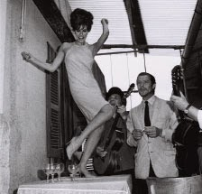 Raquel Welch and Marcello Mastroianni on set at Cinecittà, 1966