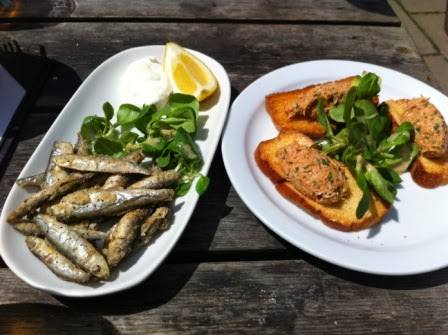 Crispy whitebait and garlic mayonnaise and Cornish crab bruschetta.