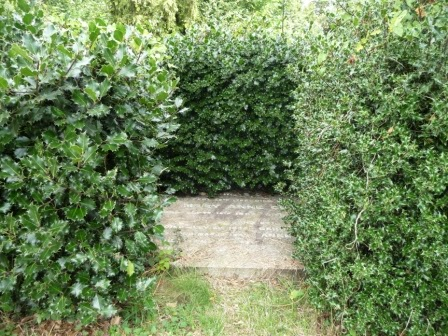 This gravestone is surrounded by a holly hedge