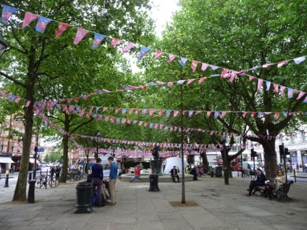 Sloane Square with bunting