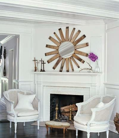 This sunburst mirror is a focal point in the room below.